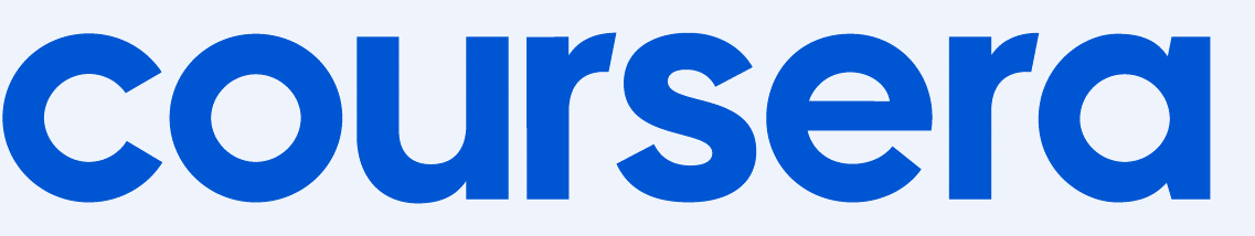 Coursera blue logo. Coursera is an online learning platform and small business resource.